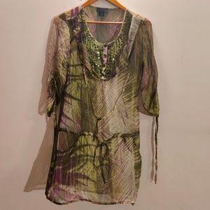 Silk Green Purple Tunik - perfect for Goa 🌴🌴🌴